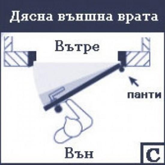 Допълнителна брава за врати с дясно отваряне Gerda TYTAN ZE1