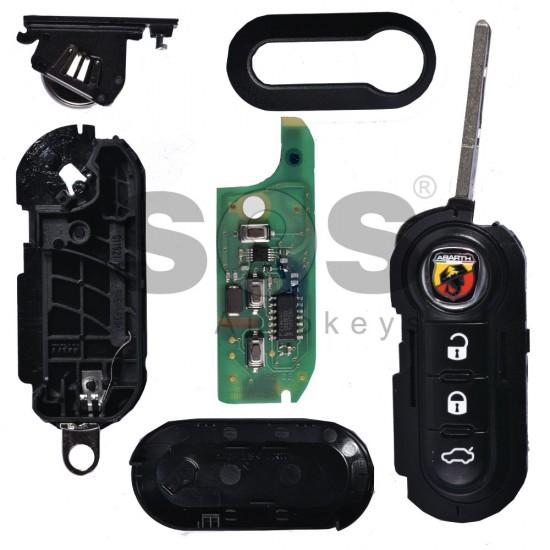 сгъваем ключ за коли Abarth 500 с 3 бутона - 433 MHz (заключен транспондер)