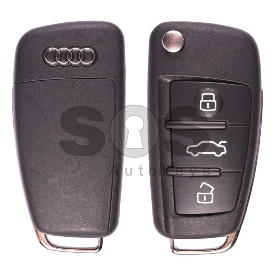 Сгъваем ключ за коли Audi A6/Q7 2003 - 2015 с 3 бутона - 868 MHz