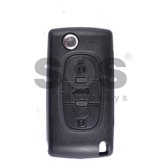 Сгъваем ключ за коли Peugeot 207/307/3008/Partner с 3 бутона