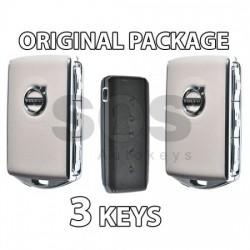Пакет - 2 смарт ключа за Volvo XC90 и 1 смарт ключ HUF8432 (черен и сив)