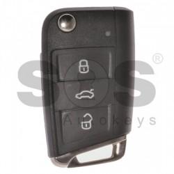 Оригинален сгъваем ключ за коли VW Golf 7 с 3 бутона 315MHz MEGAMOS 88/ AES