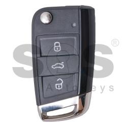 Оригинален сгъваем ключ за Volkswagen Passat 3 бутона 434MHz Keyless Go