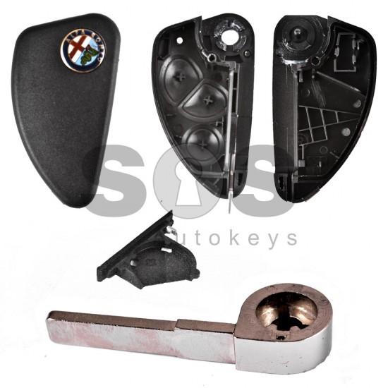 Кутийка за ключ (флип) за Alfa Romeo с 3 бутона - с лого - държач за батерия