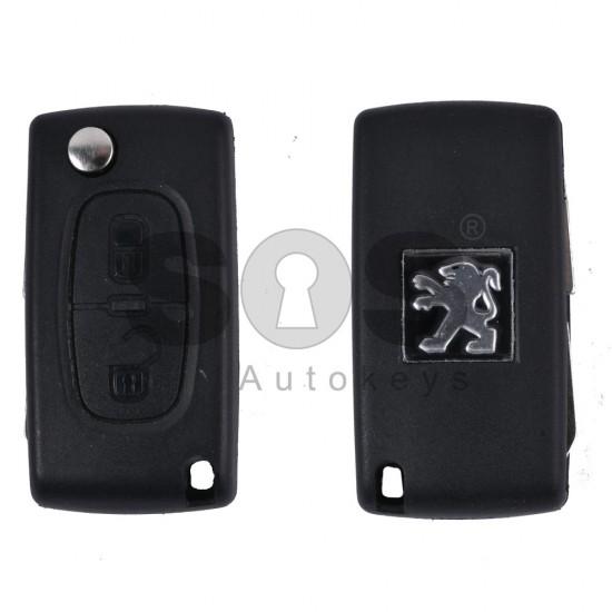 Кутийка за ключ (сгъваем) за Peugeot 408 с 2 бутона - NE78