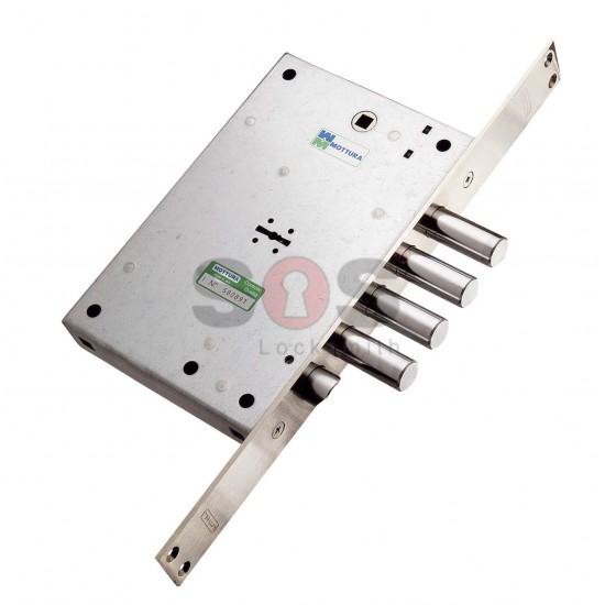 Двойно заключваща касова брава с тристранно заключване Mottura