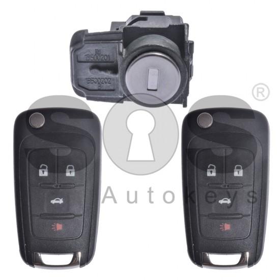 Оригинален комплект за GM General Motors с 3+1 бутона HITAG2/ ID46 HU100
