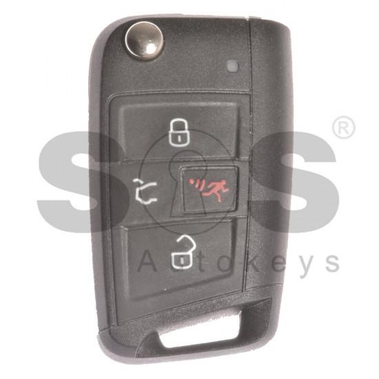 Флип сгъваем ключ за VW с 3+1 бутона 315MHz MEGAMOS 88 / AES