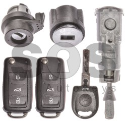 Оригинален комплект сет за Volkswagen UDS с 3+1 бутона 315MHz Megamos Crypto / ID48 / HU66