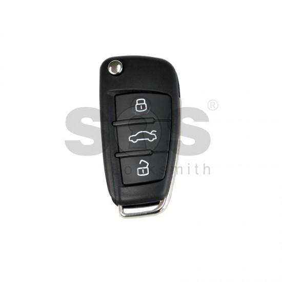 Универсално дистанционно за автомобил с 3 бутона - сгъваем ключ B02